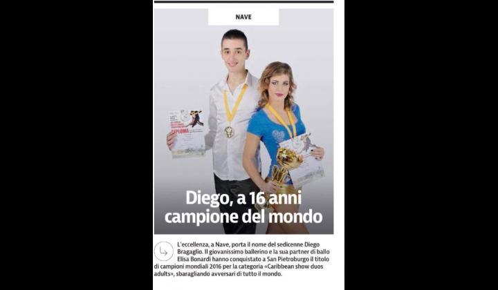 BragaglioDiego ed Elisa Bonardi, vincitoriCampionati Mondiali categoria CARAIBBEAN SHOW DANCE DUO ADULTI