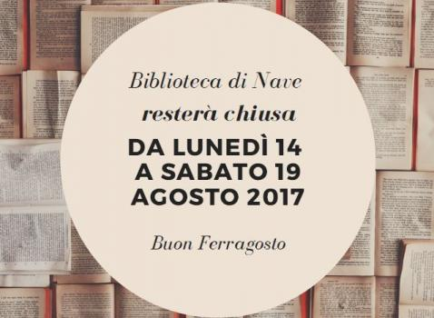 Chiusura biblioteca agosto 2017